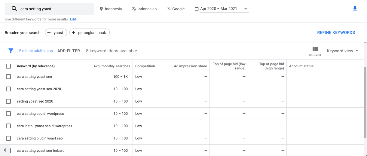 contoh keyword planner