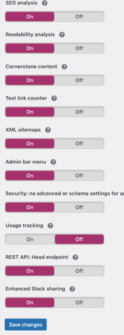 setting features tab